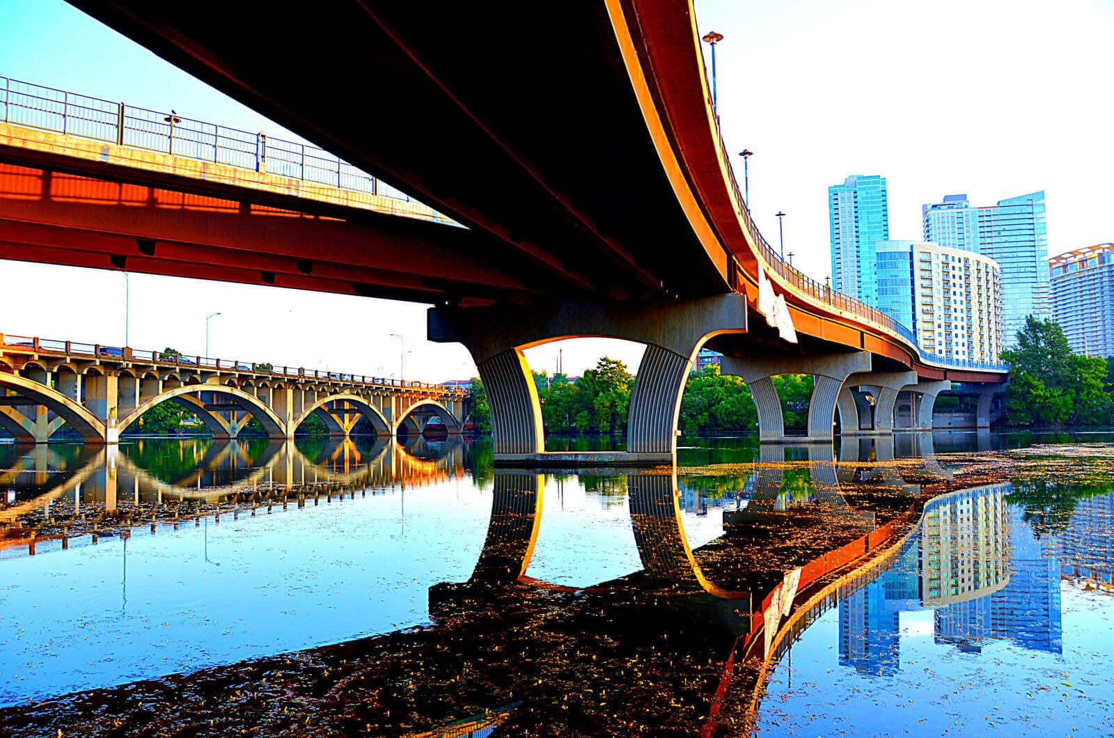 Image from underneath the one the bridges in Austin looking towards downtown.