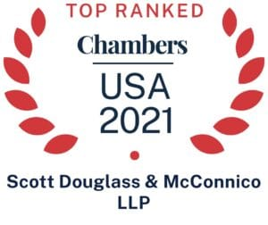 Chambers USA 2021 Top Ranked for Scott Douglass & McConnico LLP Logo.